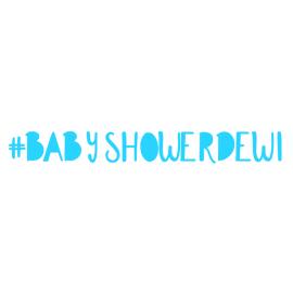 Hashtag sticker babyshower dichte letters
