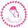 Verjaardagssticker flamingo rond