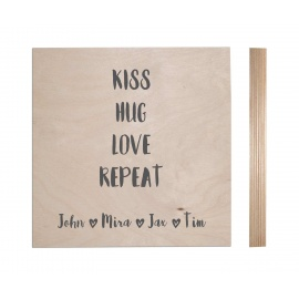 Naamblok Kiss - Hug - Love - Repeat