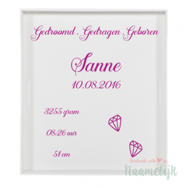 Stickers geboortebord diamantjes